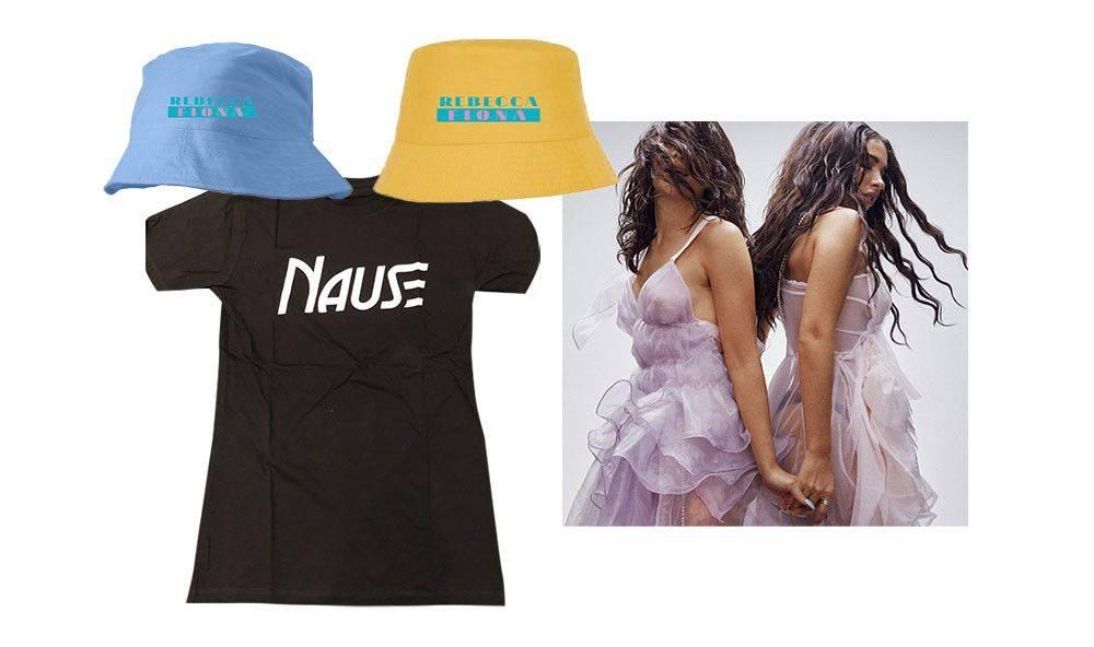 Nause t-shirt, Rebecca & Fiona bucket hat, Rebecca & Fiona poster