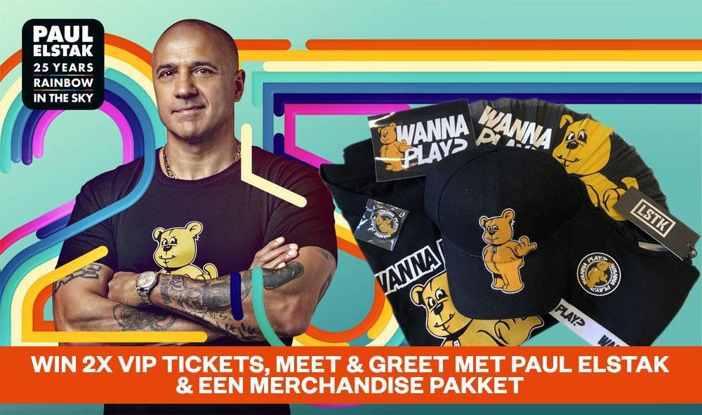 2 VIP tickets voor Rainbow In The Sky, meet & greet met Paul Elstak & merchandise pakket