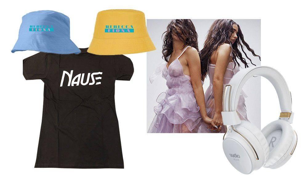 Sudio headphones, Nause t-shirt, Rebecca & Fiona bucket hat, Rebecca & Fiona poster